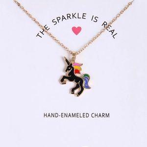 ☀️ Hand Enameled Gold & Black Unicorn Necklace 🦄